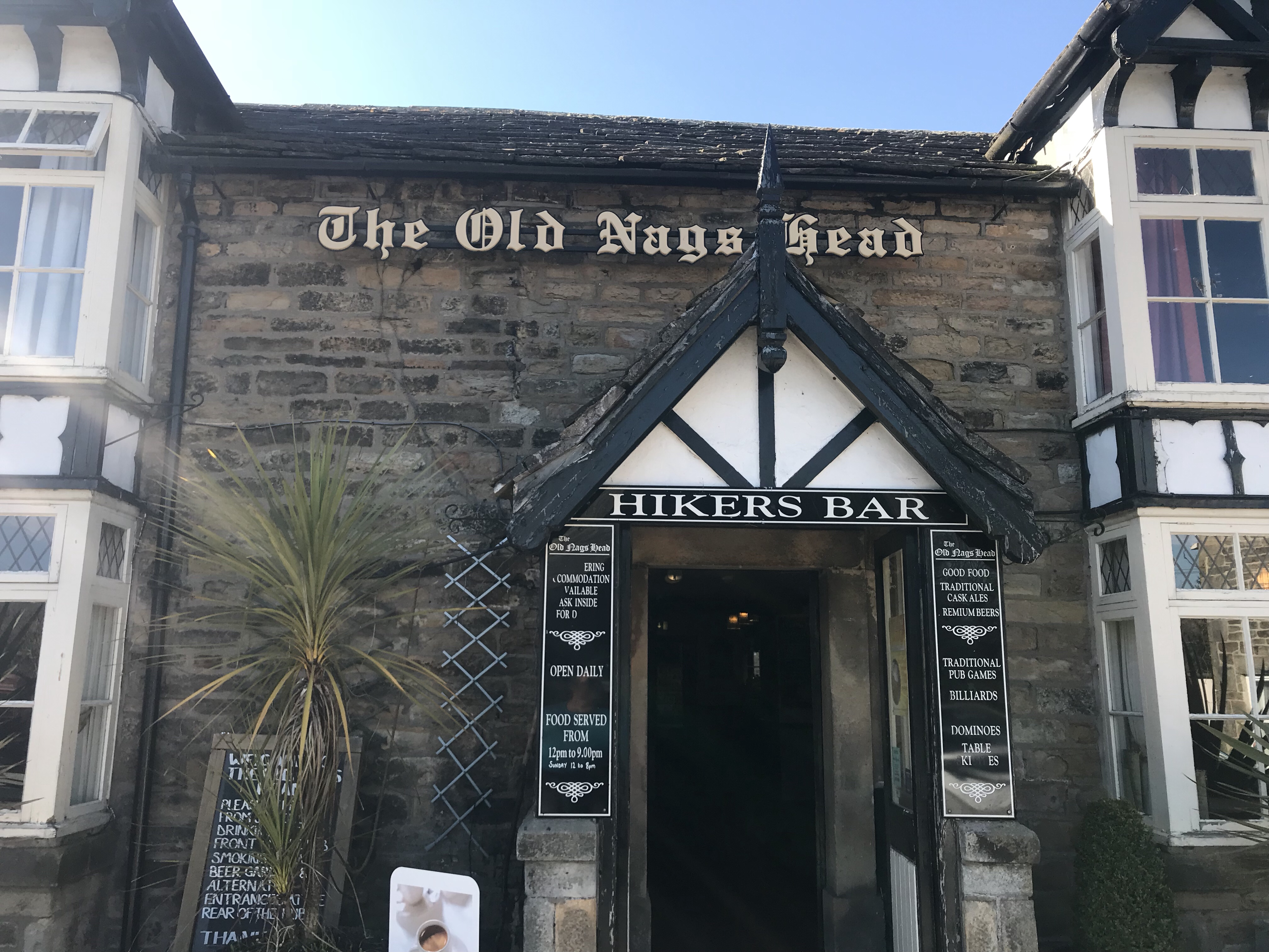 Great food and I'm assured great beer at the Old Nags Head in Edale...